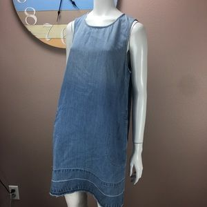 Bella Dahl Chambray Dress Sleeveless Raw Hem